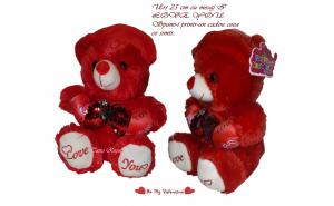 Urs de plus Valentine 's Day, 25 cm, cu mesaj I Love You