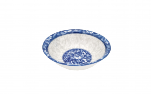 Set 3 boluri ceramica 16 cm, model floral, albastru