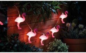 Instalatie de Craciun cu Baterii Tip Sir  1.5 m 10 LED -uri Flamingo Roz