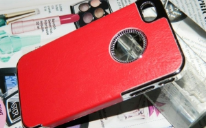 Husa iPhone 4 - 4S Piele Ecologica, rosie, doar la 35 RON, in loc de 80 RON