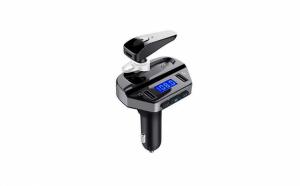 Modulator FM cu Bluetooth, 2 x USB, player mp3 si casca Bluetooth inclusa, negru