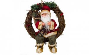 Coronita decorativa de Craciun din lemn cu figurina Mos Craciun 34 cm