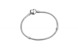 Bratara pentru charmuri Argint 925,  tip Pandora, inchidere clips Inima