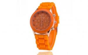 Ceas Geneva curea silicon - Orange, la un pret fara precedent: 39 RON in loc de 120 RON