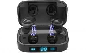 Casti wireless TWS H01, Bluetooth 5.0, Earbuds 9D Stereo, Bass Boosted, Touch Control, 2000mAh, LED Display, Black