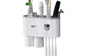 Suport 2 pahare magnetice si dispenser pasta de dinti cu 4 suporturi de periute