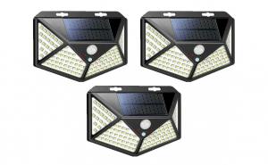 Set 3 lampi cu incarcare solara, senzor de miscare si amurg/lumina, stare de veghe, 3 moduri de iluminare, 114 x LED, KATHODE