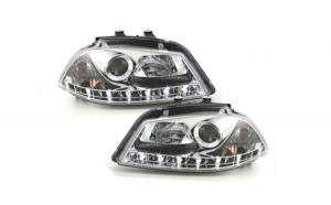 Set 2 faruri D-LITE compatibil cu SEAT Ibiza 6L 03-08, echipate cu lumina de zi LED, chrom