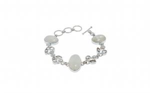 Bratara din argint, cuart, perla si piatra lunii