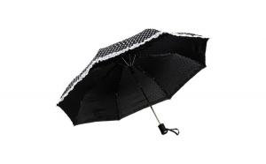 Umbrela telescopica, neagra cu buline albe si argintii, volanas alb, deschidere automata, ∅ 112cm