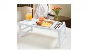 Masuta plianta pentru mic dejun la pat, cu suport pentru tacamuri si pahare