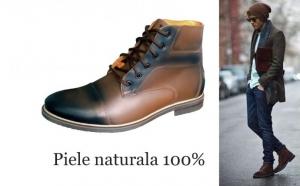 Ghete Cap Toe, din piele naturala 100%, maro in degrade, calduroase, impermeabile, ideale pentru sezonul rece. Produse in Romania. Garantie 30 zile!