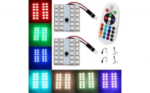 Placa LED RGB 37X43MM. CU TELECOMANDA - 24 SMD 5050 RGB 12V (pret/set)