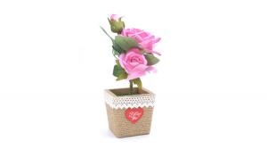 Trandafir artificial in ghiveci, roz, 28 cm