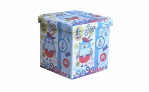Taburet pliabil cu spatiu depozitare, model SeaOwl, Multicolor