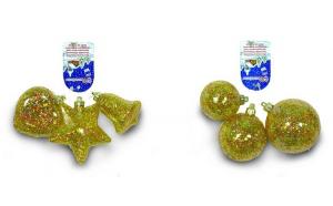 Set 3 globuri sau 3 figurine cristal galben cu decor glitter lana