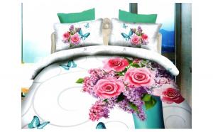Lenjerie de pat dublu bumbac Print Liliac flowers