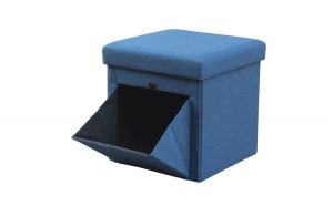 Taburet din material textil cu buzunare spatiu depozitare,albastru, 38 x 38 cm