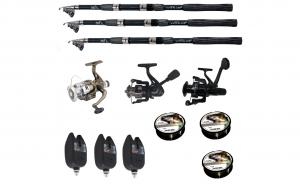 Set pescuit sportiv cu lanseta Wind Blade de 3.6 m, 3 mulinete, 3 senzori si 3 gute