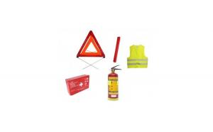 Set complet siguranta rutiera auto trusa medicala, 2x triunghiuri, stingator cu manometru, vesta omologate