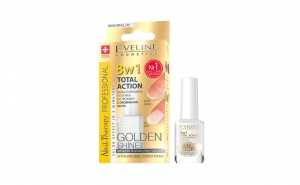 Tratament profesional pentru unghii 8 in 1, Eveline Cosmetics, Golden Shine 12ml