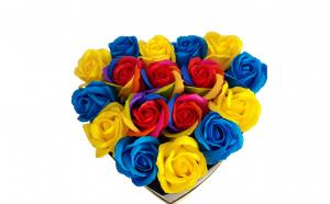 Aranjament trandafiri multicolori de lux, Martie, luna femeii, Martisoare & Flori