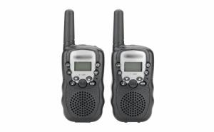 Set 2 Statii Radio Portabile Walkie-Talkie Emisie Receptie cu Afisaj LCD, Lanterna, Raza Acoperire 5km, 22 Canale