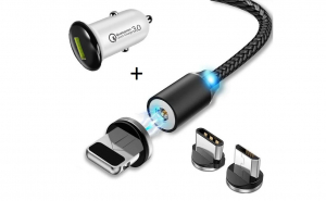Cablu usb 3in1 + incarcator quick charge