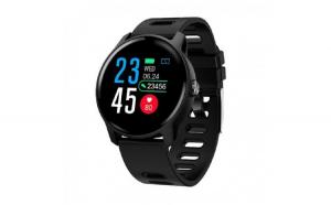 Smartwatch Techstar® S08 Negru Unisex Waterproof IP68 BT 4.0  Ecran 1.3 inch Conectare Android si iOS