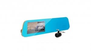 Oglinda retrovizoare auto, cu camera video fata-spate