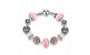 Bratara Charm Pink Murano