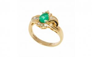 Inel din aur 14K cu smarald si diamante