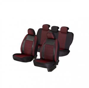 Huse scaune auto FIAT PUNTO 1998-2010  dAL Elegance Rosu,Piele ecologica + Textil