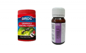 Pachet anti furnici format din granule 60 gr Bros si Insecticid universal Pertox 8, 50 ml