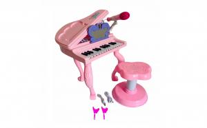 Pian cu scaun, lumini si microfon, karaoke, 25 clape, roz