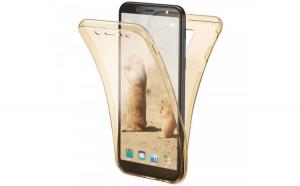 Husa Full TPU 360 fata + spate Samsung Galaxy A6 (2018)  Gold transparent