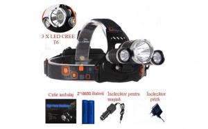 Lanterna frontala cu 3 LED CREE T6