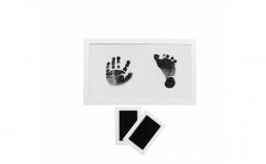 Set de rama foto si 2 kit-uri de amprente pentru bebelus, cu cerneala