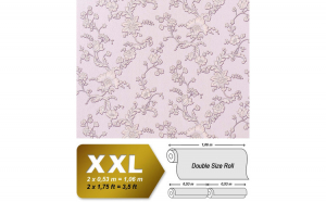 Tapet roz model floral cu finisaj metalic evidentiat 919-39