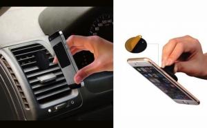 Suport auto magnetic pentru telefon, 2 paduri adezive incluse