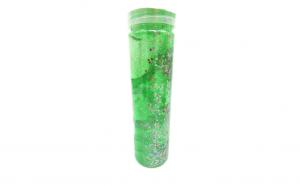 Slime la tub, cu gelatina verde, ce include si perle, stelute si sclipici