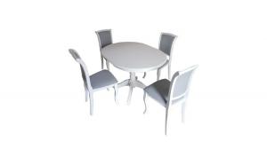 Set masa alba extensibila cu 4 scaune