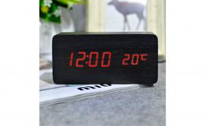 Ceas Led imitatie lemn cu afisare temperatura