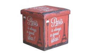 Taburet pliabil cu spatiu depozitare, model Mesaje Paris, Multicolor