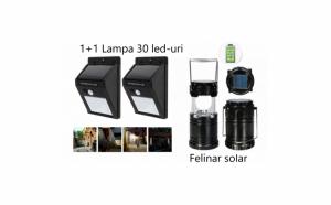 Pachet iluminat:Set 2 lampi solare +Felinar LedPanou Solar si functie de Baterie externa