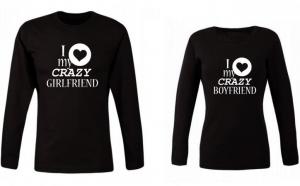 "Set de bluze negre pentru cuplu ""Crazy Girl/Boy"""