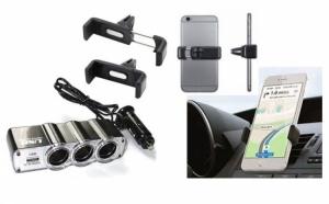 Pachet Auto - Priza bricheta tripla cu USB + Suport auto telefon, la doar 39 RON in loc de 89 RON