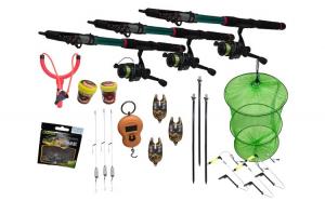 Set pescuit  23 cu 3 lansete de 3 m cu mulinete si accesorii