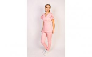 Costum medical de dama cu bluza cu anchior, roz