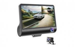 Camera auto tripla: fata, spate, interior, design tip monitor, 4 inch, Full HD Black Friday Romania 2017